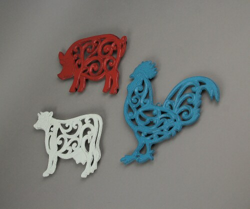 Set of 3 Cast Iron Farm Animal Kitchen Trivets Decorative Wall Hanging Art Rooster Cow Pig Perspective: back