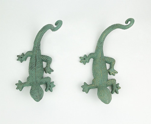 Set of 2 Verdigris Green Finish Cast Iron Gecko Lizard Wall Mount Plant Hanger Brackets Perspective: back