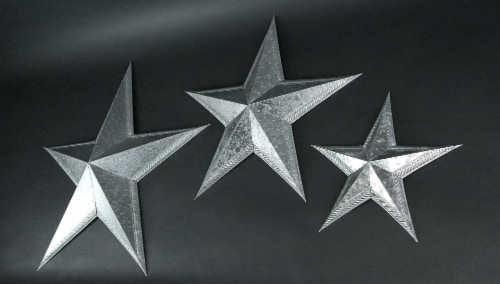 Set of 3 Galvanized Metal Stars Wall Art Rustic Decorative Home Accent Indoor/Outdoor Decor Perspective: back