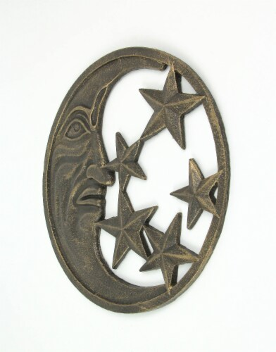 Antique Bronze Finished Cast Iron Crescent Moon and Stars Wall Hanging Perspective: back