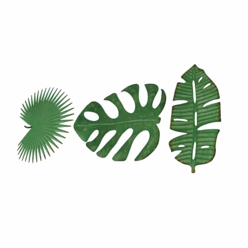 Set of 3 Antiqued Green Metal Tropical Leaf Sculptures Wall Hanging Palmetto Monstera Banana Perspective: back
