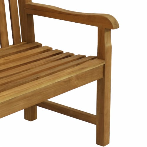 Sunnydaze Teak Outdoor Patio Garden Bench - Mission Style - 2-Person - 59-Inch Perspective: back