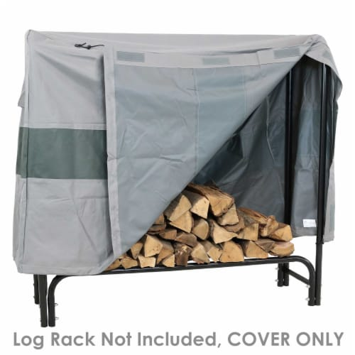 Sunnydaze Log Rack Cover - Gray with Green Stripe - Waterproof - 5-Foot Perspective: back