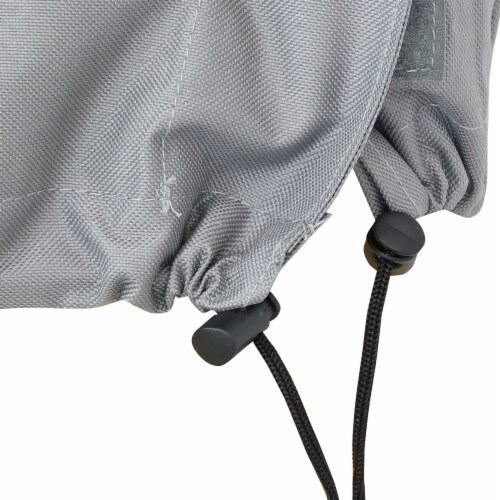 Sunnydaze Log Rack Cover - Gray with Green Stripe - Waterproof - 8-Foot Perspective: back