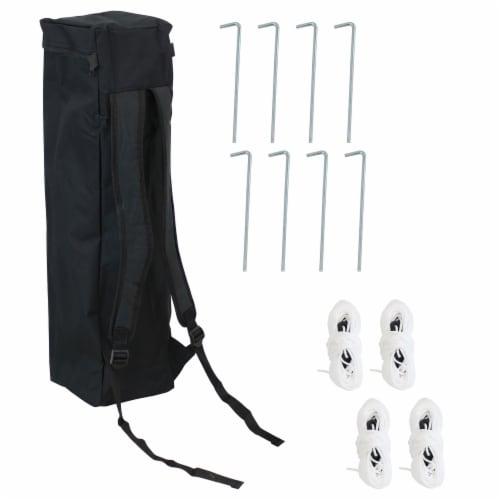 Sunnydaze 7.5 x 7.5 Foot Slant Leg Backpack Canopy - White Perspective: back
