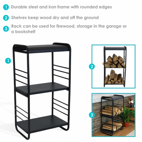 Sunnydaze Modern Rounded Edge Iron and Steel Log Rack - 36-Inch Perspective: back