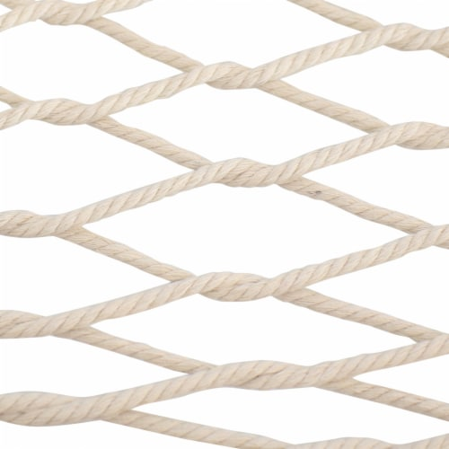Sunnydaze Cotton Rope Hammock with Stand - Unfinished Wood Spreader Bars Perspective: back