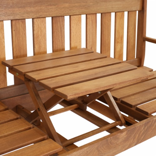 Sunnydaze Meranti Wood Outdoor Occasional Bench with Teak Oil Finish Perspective: back