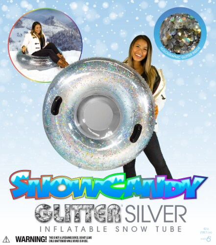 SnowCandy Inflatable Glitter Inflatable Snow Sled - Silver Perspective: back