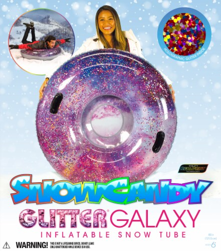 SnowCandy Inflatable Galaxy Glitter Inflatable Snow Sled Perspective: back