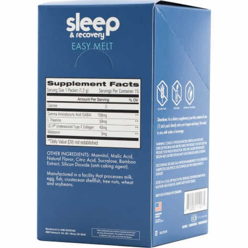 Kore Nutrition Sleep & Recovery Easy Melt Passion Fruit Flavor Stickpacks Perspective: back
