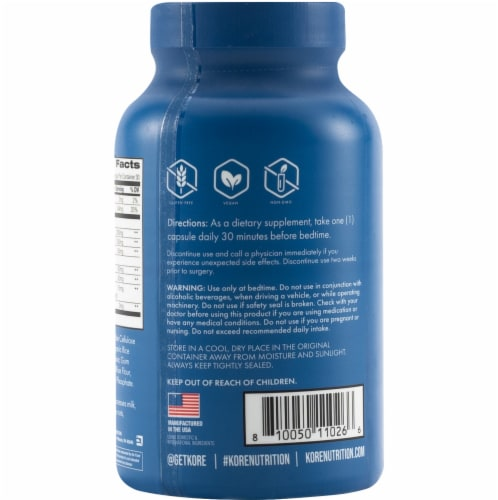 Kore Nutrition Sleep Dietary Supplement Capsules Perspective: back