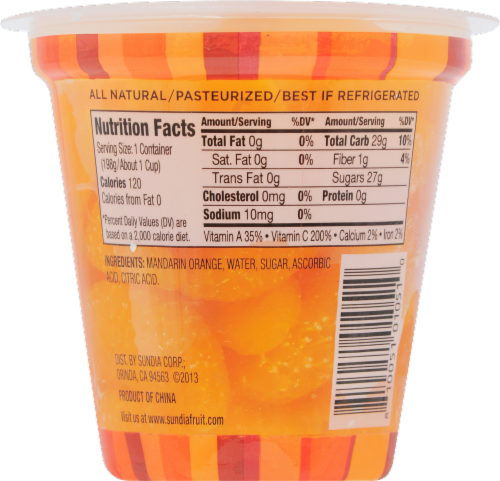 Sundia True Fruit Mandarin Orange Cup Perspective: back