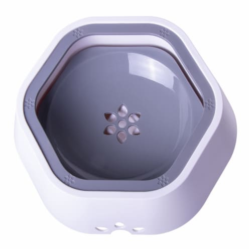 Pet Life 'Everspill' 2-in-1 Food and Anti-Spill Water Pet Bowl, Grey Perspective: back