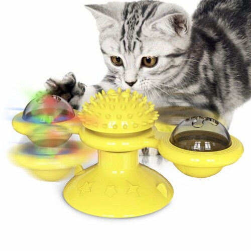 Pet Life 'Windmill' Rotating Suction Cup Spinning Cat Toy, Yellow Perspective: back