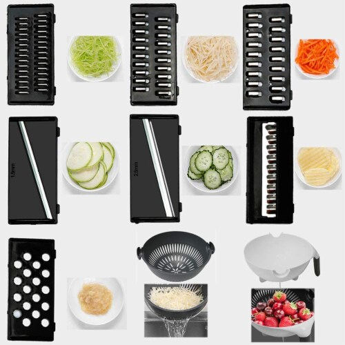 9-1 MULTI-PURPOSE KITCHEN VEGETABLE FOOD PREP CUTTER WITH DRAINER Perspective: back