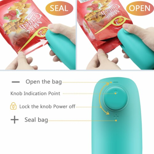 KITCHEN HEAT BAG SEALER FOR CHIP COOKIE CANDY PLASTIC ZIP BAG TRAVEL SIZE PORTABLE Perspective: back