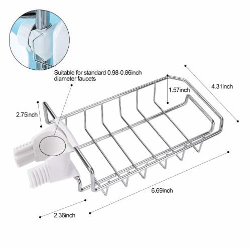 KITCHEN BATH SINK CADDY ORGANIZER SPONGE SOAP HOLDER FAUCET HOLDER Perspective: back
