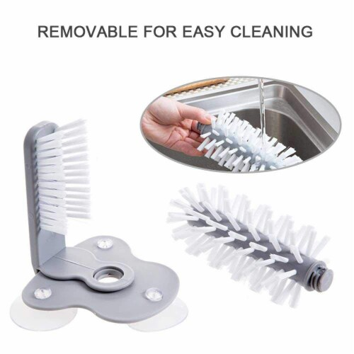 Glass Washer with Double Sided Bristle Brush, Glass Cup Brush Cleaner with Suction Cups Perspective: back