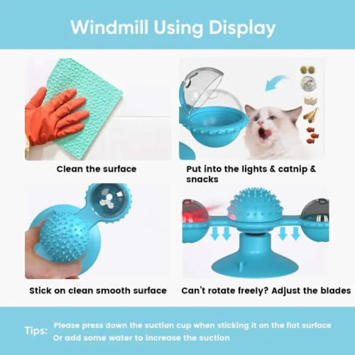 Windmill Cat Toy Turntable Teasing Interactive Cat Toys uction Cup Scratching Tickle Catnip Perspective: back