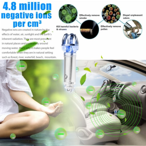 CAR AIR PURIFIER IONIZER CLEANER REFRESHER PLUGS INTO CIGARETTE  LIGHTER-GREY Perspective: back