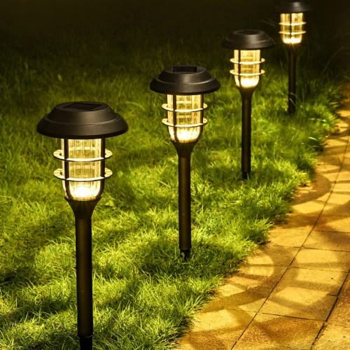 8 pk Solar Led Garden Pathway Lawn Ground Yard Light Water Proof Long lasting -Cool White Perspective: back