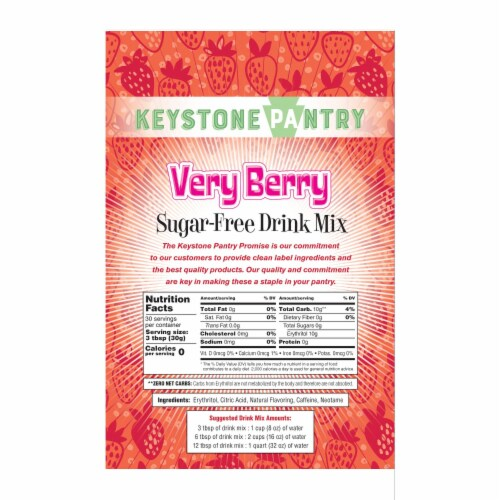 Keystone Pantry Sugar-Free Drink Mix Very Berry Perspective: back