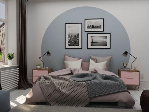 Manhattan Comfort Rockefeller 2-Drawer Nature and Rose Pink Nightstand (Set of 2) Perspective: back
