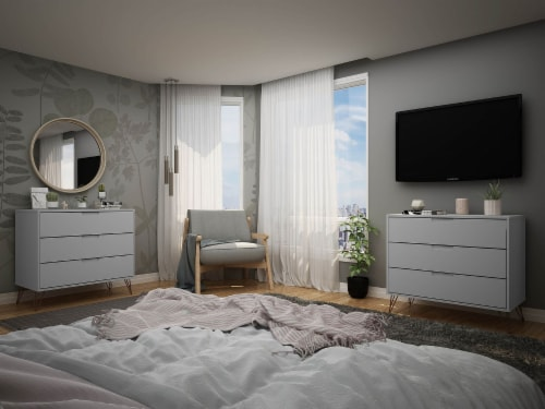 Manhattan Comfort Rockefeller 3-Drawer White Dresser (Set of 2) Perspective: back
