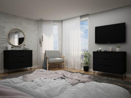 Manhattan Comfort Rockefeller 3-Drawer Black Dresser (Set of 2) Perspective: back