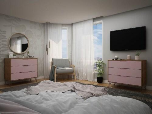 Manhattan Comfort Rockefeller 3-Drawer Nature and Rose Pink Dresser (Set of 2) Perspective: back