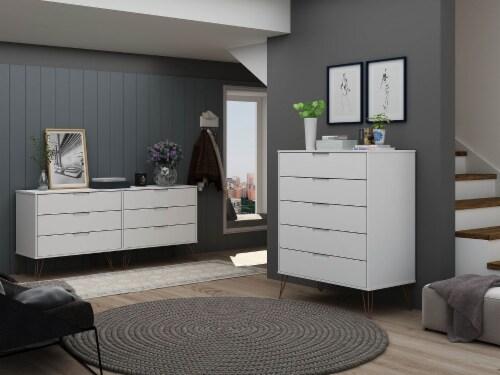 Manhattan Comfort Rockefeller 5-Drawer and 6-Drawer White Dresser Set Perspective: back