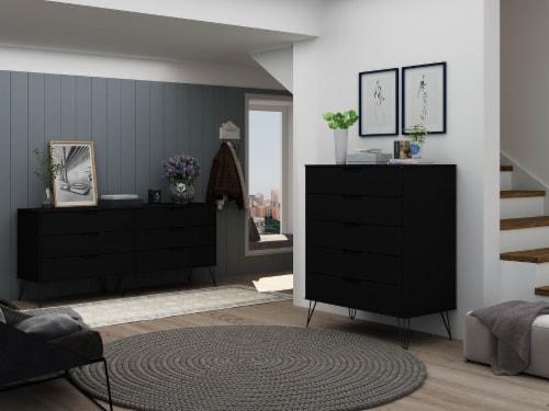 Manhattan Comfort Rockefeller 5-Drawer and 6-Drawer Black Dresser Set Perspective: back