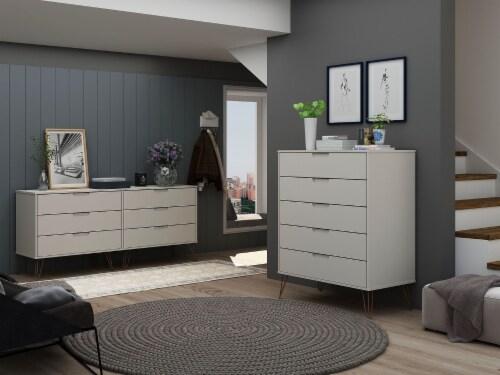Manhattan Comfort Rockefeller 5-Drawer and 6-Drawer Off White and Nature Dresser Set Perspective: back