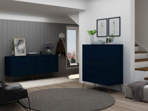 Manhattan Comfort Rockefeller 5-Drawer and 6-Drawer Tatiana Midnight Blue Dresser Set Perspective: back