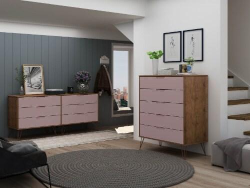 Manhattan Comfort Rockefeller 5-Drawer and 6-Drawer Nature and Rose Pink Dresser Set Perspective: back