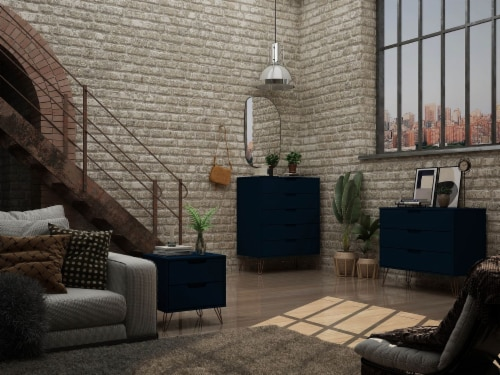 Manhattan Comfort Rockefeller 3-Piece Tatiana Midnight Blue Dresser and Nightstand Set Perspective: back