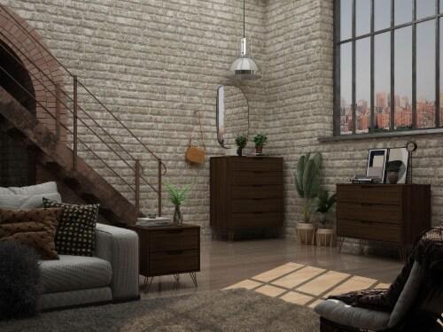 Manhattan Comfort Rockefeller 3-Piece Brown Dresser and Nightstand Set Perspective: back