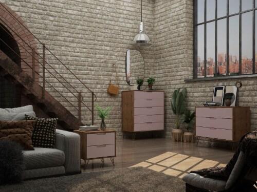Manhattan Comfort Rockefeller 3-Piece Nature and Rose Pink Dresser and Nightstand Set Perspective: back