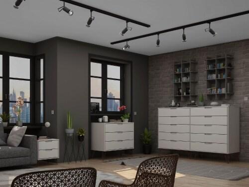 Manhattan Comfort Rockefeller 3-Piece White Dresser and Nightstand Set Perspective: back
