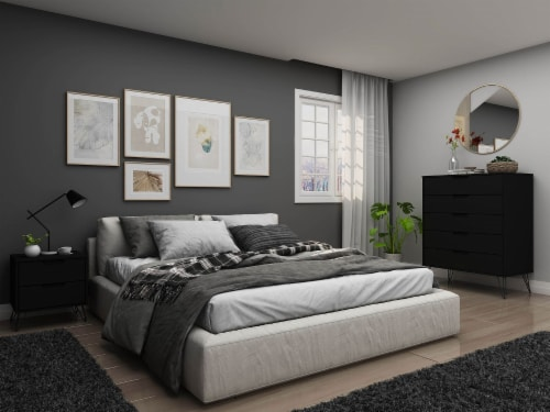 Manhattan Comfort Rockefeller Black 5-Drawer Dresser and 2-Drawer Nightstand Set Perspective: back