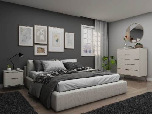 Rockefeller Off White and Nature 5-Drawer Dresser and 2-Drawer Nightstand Set Perspective: back