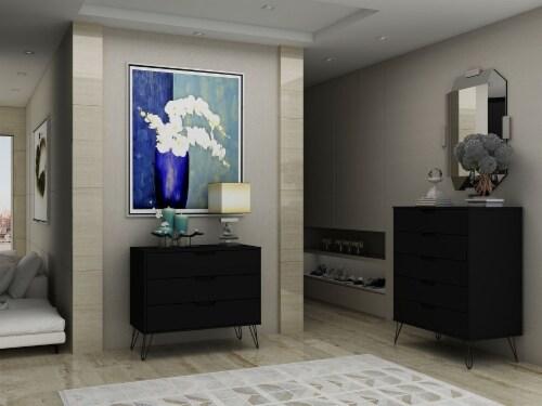 Manhattan Comfort Rockefeller 5-Drawer and 3-Drawer Black Dresser Set Perspective: back