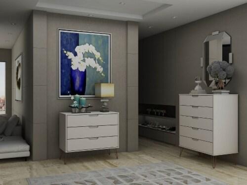 Manhattan Comfort Rockefeller 5-Drawer and 3-Drawer Off White and Nature Dresser Set Perspective: back