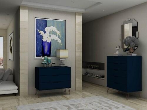 Manhattan Comfort Rockefeller 5-Drawer and 3-Drawer Tatiana Midnight Blue Dresser Set Perspective: back