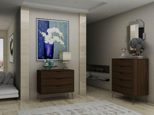 Manhattan Comfort Rockefeller 5-Drawer and 3-Drawer Brown Dresser Set Perspective: back