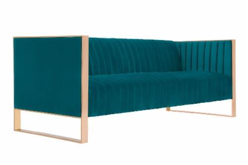 Manhattan Comfort Trillium 83.07 in. Aqua Blue and Rose Gold 3-Seat Sofa Perspective: back