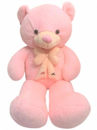 Teddy Bear   Bearded Bowtie Stuffed Animal   Swiss Jasmine® Plushies   32 Inches, Pink Perspective: back