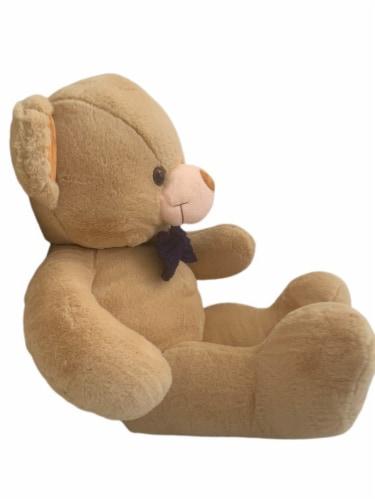 Teddy Bear | Crochet Bowtie Stuffed Animal | Swiss Jasmine® Plushies | 32 Inches Brown Perspective: back