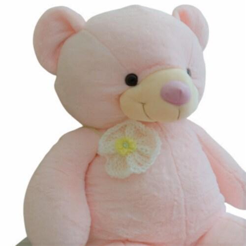 Teddy Bear   Crochet Bowtie Stuffed Animal   Swiss Jasmine® Plushies   32 Inches Perspective: back